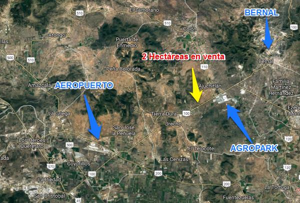 Hectárea en Venta en carretera Estatal No. 100 en dirección hacia Querétaro Tx-2282